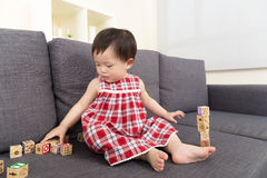 Asia baby girl playing toy block Stock Photos