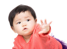 Asia baby girl pointing front Royalty Free Stock Images