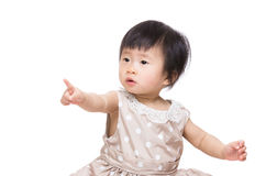 Asia baby girl sitting and finger pointing front Royalty Free Stock Photo