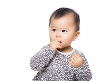Asia baby girl suck finger into mouth Royalty Free Stock Photo