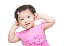 Asia baby girl touch her head Stock Images