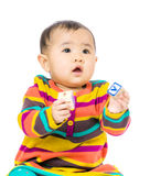 Asia baby holding toy block Royalty Free Stock Images