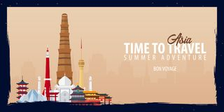 Asia banner. Time to Travel. Journey, trip and vacation. Vector flat illustration. Asia banner. Time to Travel. Journey, trip and vacation. Vector flat Stock Photo