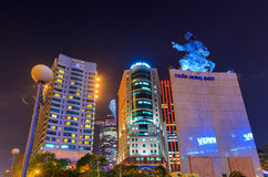 The Me linh square and buildings around at night in Hochiminh city Royalty Free Stock Images
