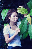 Asia beautiful young sexy woman posing on nature Stock Photos