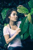 Asia beautiful young sexy woman posing on nature Stock Images