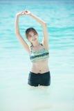 Asia beautiful young woman in bikini on the beach. Krabi Thailand Stock Images