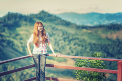 Asia beautiful young woman stand on view point royalty free stock images