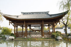 In Asia, Beijing, China, Expo Garden, antique buildings, pavilions, terraces and open halls, Royalty Free Stock Photography