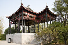 In Asia, Beijing, China, Expo Garden, antique buildings, pavilions, terraces and open halls, Royalty Free Stock Photos