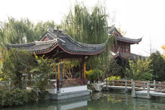 In Asia, Beijing, China, Expo Garden, antique buildings, pavilions, terraces and open halls, Royalty Free Stock Images