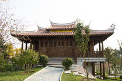 In Asia, Beijing, China, Expo Garden, antique buildings, pavilions, terraces and open halls, Stock Photo