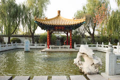 In Asia, Beijing, China, Expo Garden, antique buildings, pavilions, terraces and open halls, Stock Images