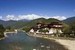 asia bhutan klosterpunakha Arkivbilder