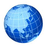 Asia blue earth globe. Isolated on white vector illustration