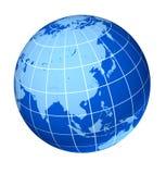Asia blue earth globe. Isolated on white Stock Photo