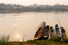 Asia boats park at strand of huge river Royalty Free Stock Image