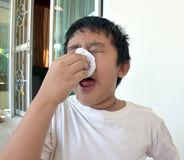 Asia boy got dust allergy. Dust make everyone feel bad Stock Photography