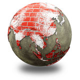 Asia on brick wall Earth Royalty Free Stock Image