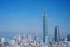 Taipei, Taiwan - Jan 16, 2018: Taipei is a capital city of Taiwan. Asia business concept image, panoramic modern cityscape building bird's eye view, shot in royalty free stock photography