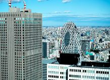 Panoramic modern city skyline aerial view of buildings in financial area on Tokyo and vivid blue sky sun lights Tokyo, Japan. Asia stock image
