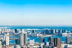 Panoramic modern city skyline aerial view under blue sky in Tokyo, Japan. Asia Business concept for real estate and corporate construction - panoramic modern stock images