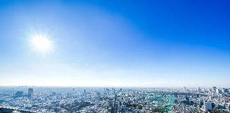 Panoramic modern city skyline aerial view under blue sky in Tokyo, Japan. Asia Business concept for real estate and corporate construction - panoramic modern royalty free stock image