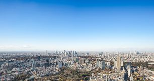 Panoramic modern city skyline aerial view under blue sky in Tokyo, Japan. Asia Business concept for real estate and corporate construction - panoramic modern stock photo