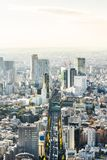 Panoramic modern city skyline aerial view under blue sky in Tokyo, Japan. Asia Business concept for real estate and corporate construction - panoramic modern royalty free stock photography