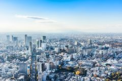 Panoramic modern city skyline aerial view under blue sky in Tokyo, Japan. Asia Business concept for real estate and corporate construction - panoramic modern royalty free stock images