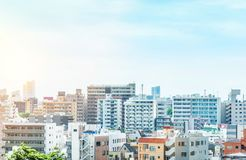 Panoramic modern city urban skyline bird eye aerial view under sun & blue sky in Tokyo, Japan. Asia Business concept for real estate and corporate construction royalty free stock photos