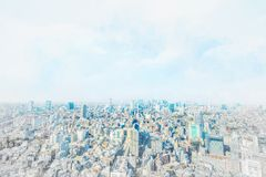 Panoramic city skyline aerial view in Japan mix sketch and watercolor illustration effect
