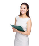 Asia business woman with clip board. On white background Stock Photography