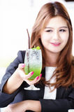 Asia business woman with fruit drink, food for health concept stock image