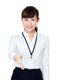 Asia business woman give a hand Stock Images