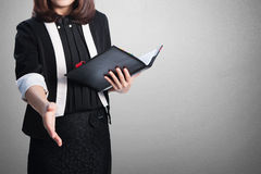 Asia Business woman handshake and blank wall for text and backgr Royalty Free Stock Photo