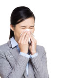 Asia business woman sneeze Stock Images