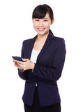 Asia business woman use mobile phone. Isolated on white background Stock Image
