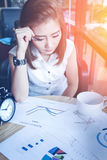 Asia business woman working in a cafe Royalty Free Stock Image