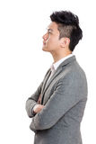 Asia businessman side profile. Isolated on white stock image