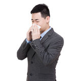 Asia businessman sneeze Stock Image