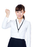 Asia businesswoman cheer up. Isolated on white Royalty Free Stock Photography
