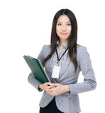 Asia businesswoman clipboard Royalty Free Stock Photo