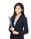 Asia businesswoman holding file pad Stock Image