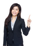 Asia businesswoman point up Stock Image