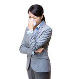 Asia businesswoman sneeze royalty free stock photography