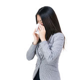 Asia businesswoman sneeze. Isolated on white Stock Image