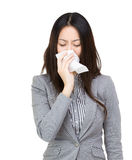 Asia businesswoman sneeze Stock Image