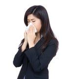Asia businesswoman sneeze Stock Images