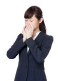 Asia businesswoman sneeze Stock Photography